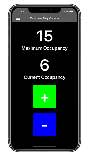 Customer Tally Counter app showing on the iPhone 11 Pro Max